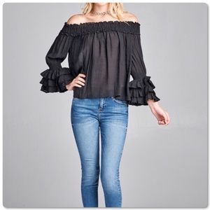 🆕 Hot🔥Ruffle Off Shoulder Long Sleeve Top Blouse